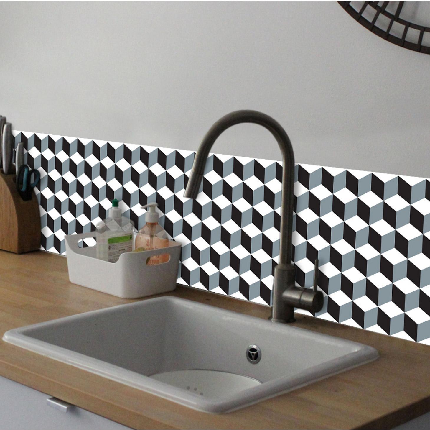 Crédence adhésive Plaque imprimée cube 3D noir et blanc 30 cm x 30 cm