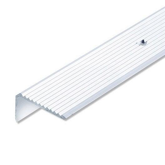 Nez de marche aluminium anodisé, L.2 m x l.4.1 cm x H.4.1 cm