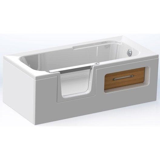 Tablier de baignoire rectangulaire cm blanc sucal twineo leroy - Tablier de baignoire ...