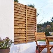 Kit panneau persienné bois naturel, L.80 x H.180 cm x Ep.33.3 mm