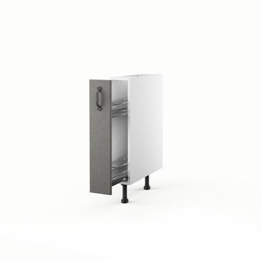 Meuble de cuisine bas gris 1 porte nuage x x p for Meuble cuisine 15 cm