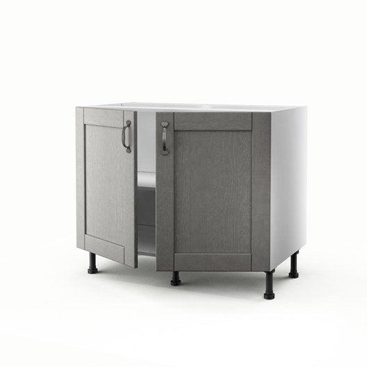 meuble de cuisine bas gris 2 portes nuage x x cm leroy merlin. Black Bedroom Furniture Sets. Home Design Ideas