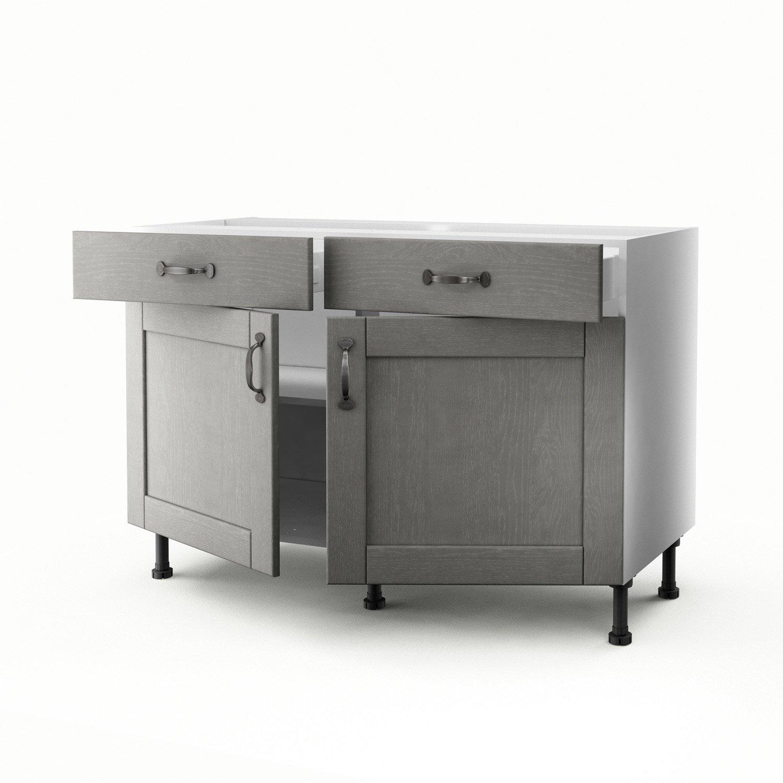 meuble de cuisine bas gris 2 portes 2 tiroirs nuage h70 x l120 x p56 cm