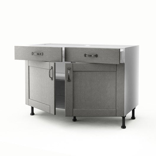 Meuble de cuisine bas gris 2 portes 2 tiroirs nuage for Meuble bas cuisine 120 cm