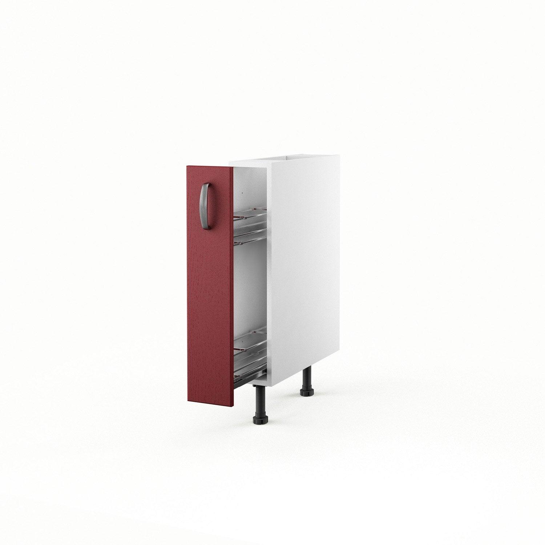 meuble de cuisine bas rouge 1 porte rubis h.70 x l.15 x p.56 cm
