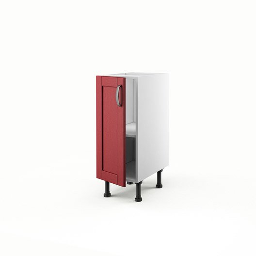 Meuble de cuisine bas rouge 1 porte rubis x x p - Meuble bas cuisine profondeur 30 cm ...