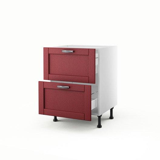 Meuble de cuisine bas rouge 2 tiroirs rubis h70xl60xp56 cm for Meuble de cuisine bas rouge