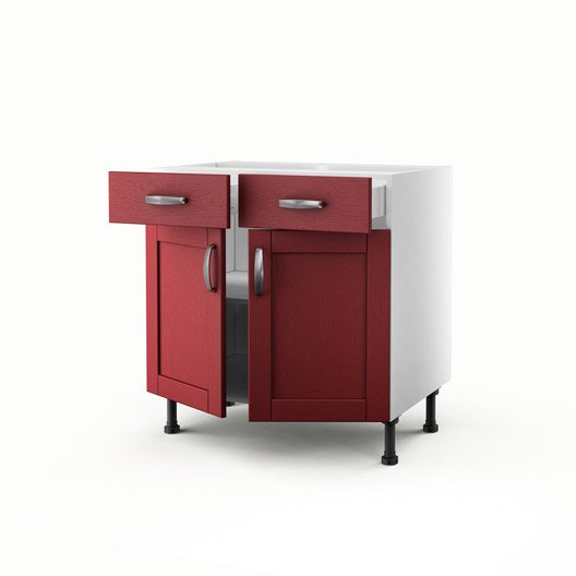 meuble de cuisine bas rouge 2 portes 2 tiroirs rubis x x cm leroy merlin. Black Bedroom Furniture Sets. Home Design Ideas