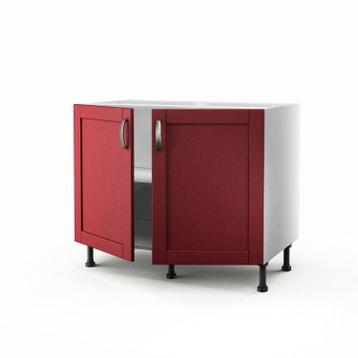 meuble de cuisine bas rouge 2 portes rubis h70 x l100 x