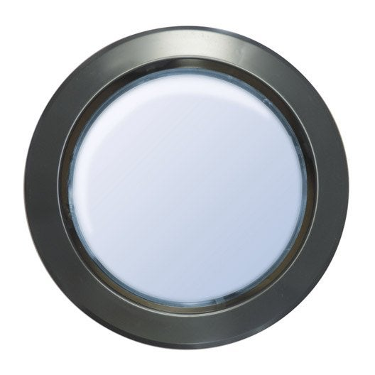 hublot de porte en polystyr 232 ne choc rond gris m 233 tal 33 cm leroy merlin