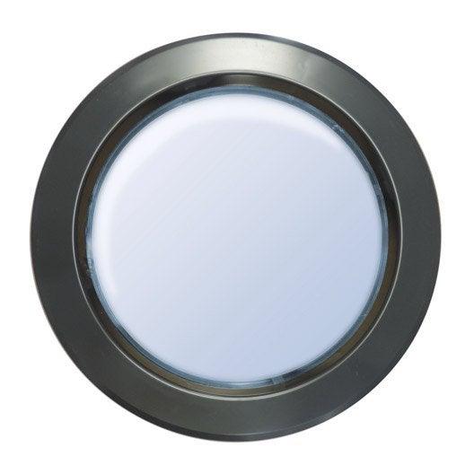 hublot de porte en polystyr ne choc rond gris m tal 33 cm leroy merlin. Black Bedroom Furniture Sets. Home Design Ideas
