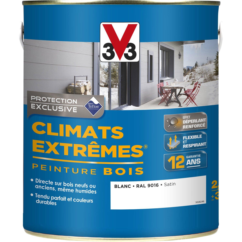 peinture bois extrieur climats extrmes v33 satin blanc 25 l leroy merlin