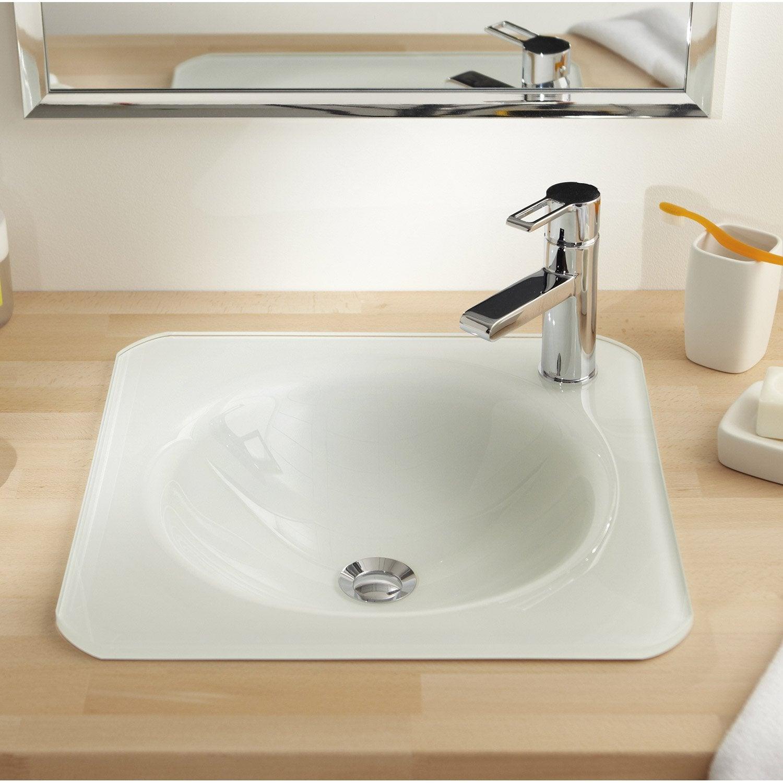 Vasque à encastrer verre l.45 x P.45 cm blanc Lara | Leroy Merlin