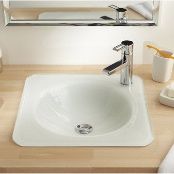 Vasque à encastrer verre l.45 x P.45 cm blanc Lara