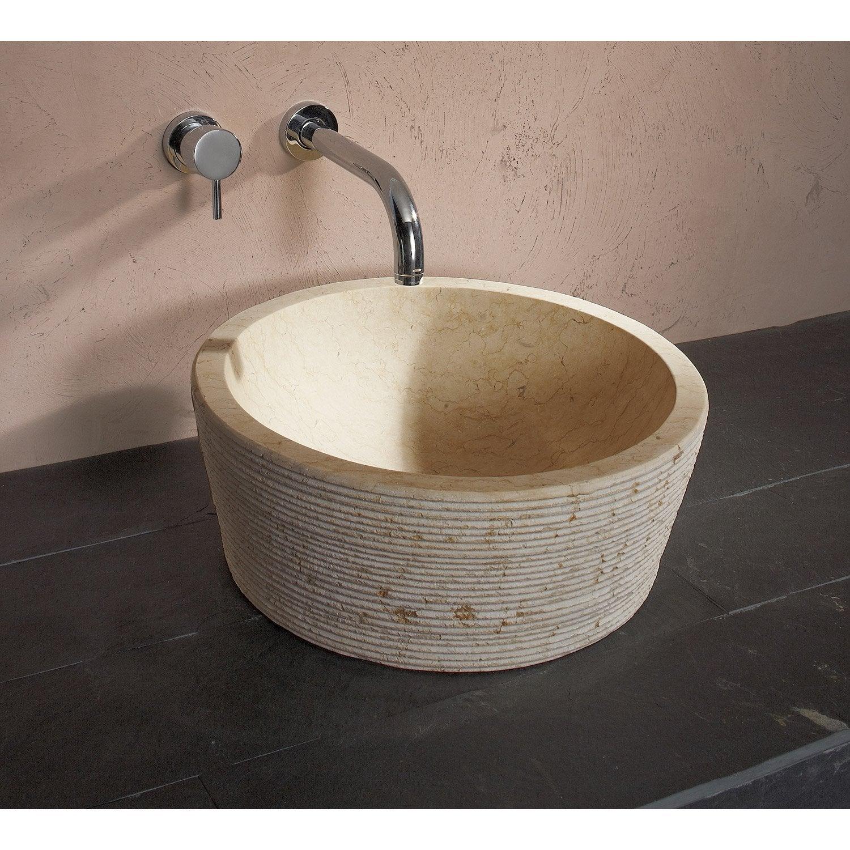 vasque à poser marbre diam.42 cm beige / naturel cedrus | leroy merlin - Vasque Beige Salle De Bain