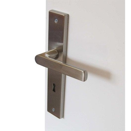 2 poign es de porte sur plaque cl cluny leroy merlin for Poignee de porte fr