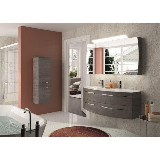 Meuble de salle de bains image decor gris graphite 130 cm - Meuble d angle salle de bain leroy merlin ...