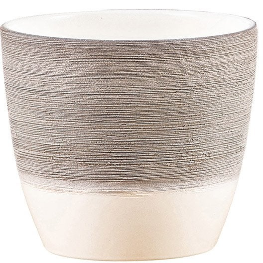 Cache pot rond carr couleur terre fibre plastique for Cache pot interieur