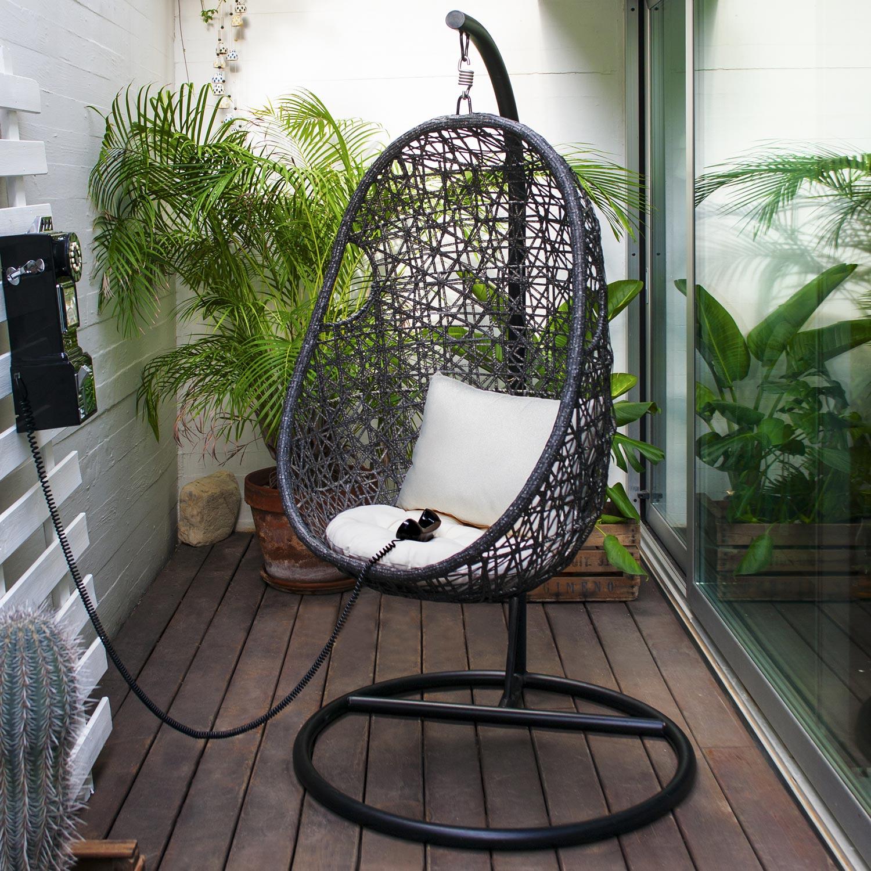 Balancelle de jardin en acier Suspendue noir et blanc | Leroy Merlin