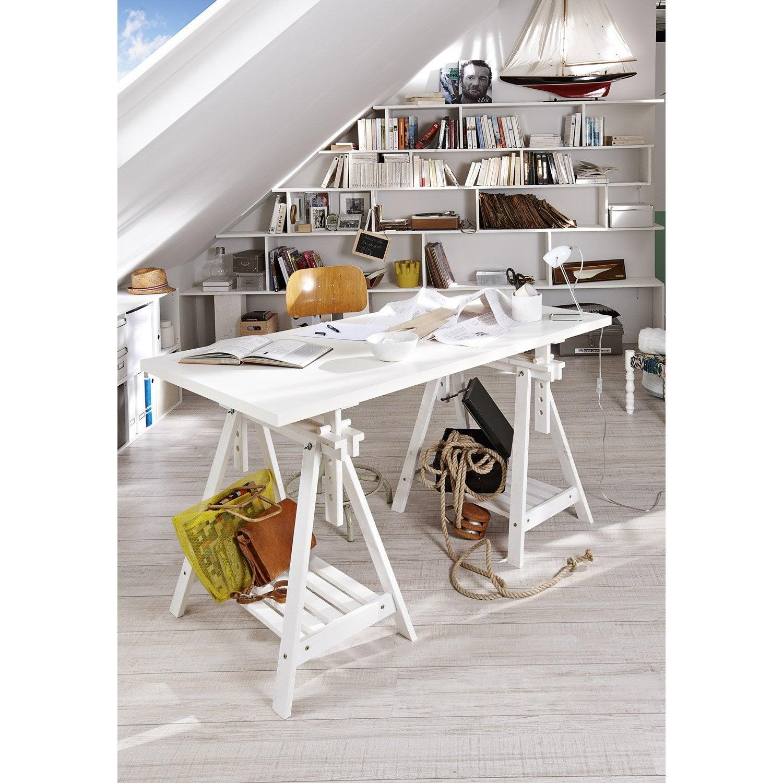 Treteau Pin Architecte Blanc H 70 X L 70 Cm