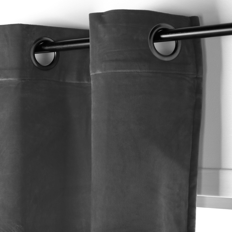 Rideau tamisant, Chambord velours gris l.150 x H.250 cm