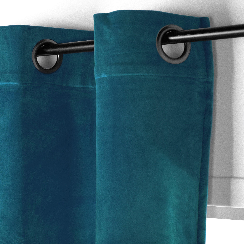 Rideau tamisant, Chambord velours, bleu canard, l.150 x H.250 cm ...
