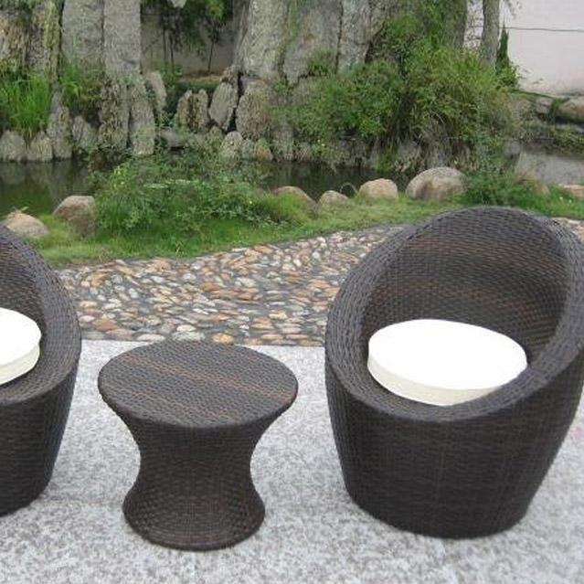 Salon bas de jardin Totem résine tressée chocolat, 2 personnes