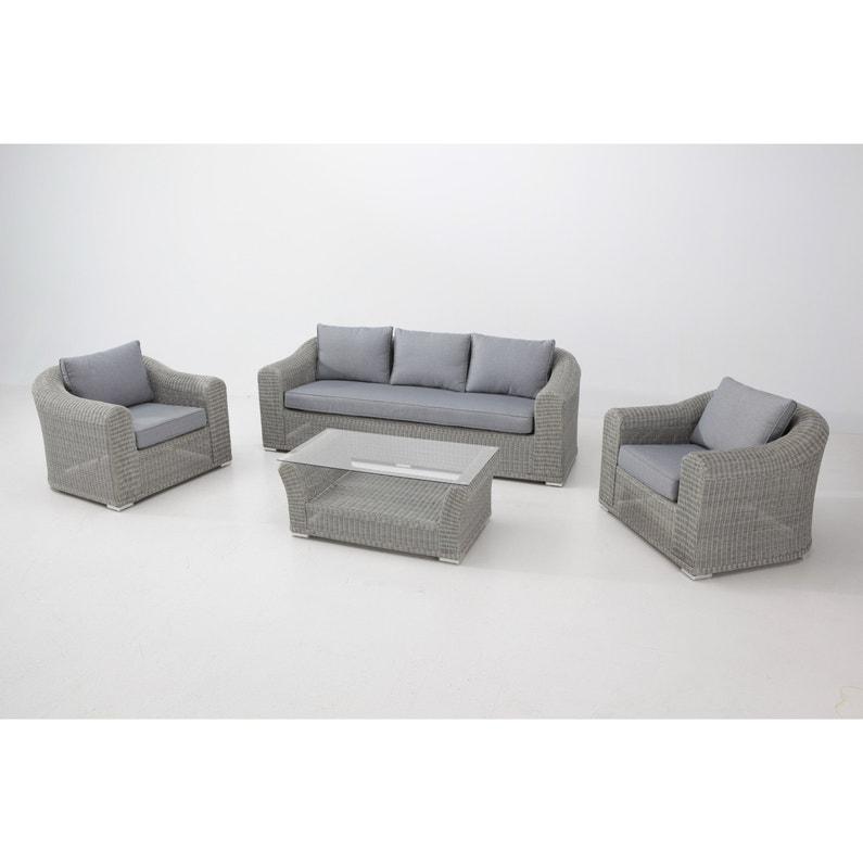 Salon bas de jardin Barbados aluminium gris, 5 personnes