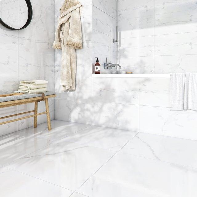 Carrelage Sol Et Mur Forte Effet Marbre Blanc Santorini L 30 X L 60 Cm Artens