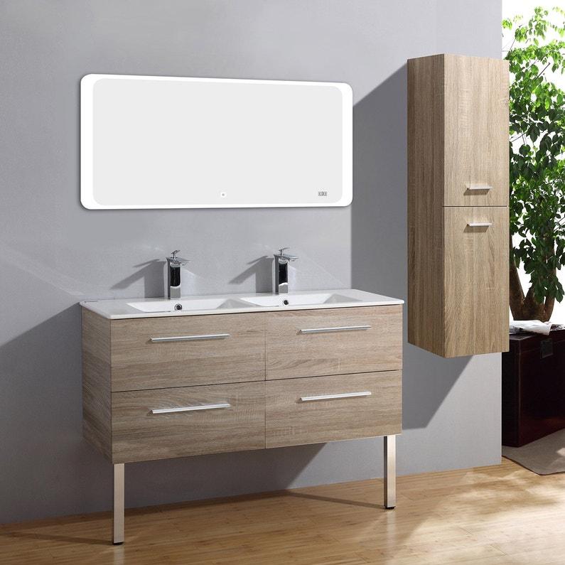 Meuble salle de bains 4 pièces, Kiss l.120 x H.54 x P.50 cm, bois clair,  Kiss al