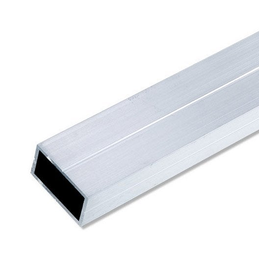 Tube rectangulaire aluminium brut, L.2.5 m x l.4.35 cm x H.4.35 cm