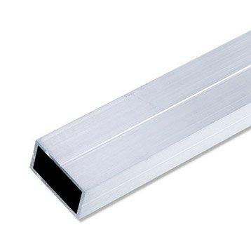 Tube rectangulaire aluminium brut, L.2.5 m x l.4.35 cm x H.2.35 cm