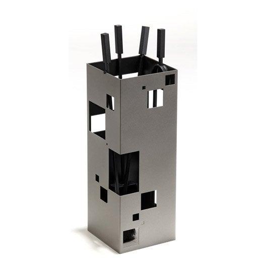 Serviteur acier gris et noir atelier dix neuf city 4 accessoires leroy merlin - Serviteur poele a bois ...