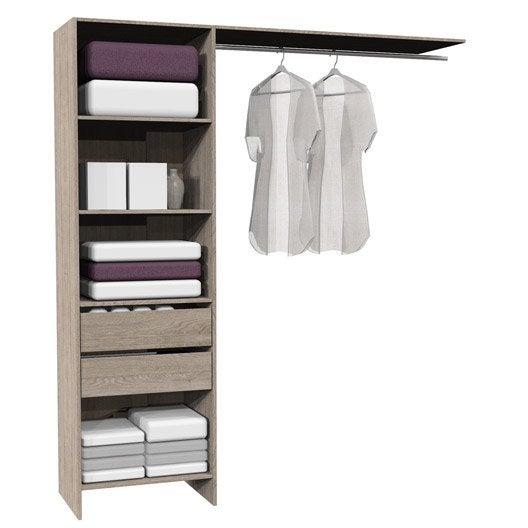 kit dressing ch ne naturel modul 39 kit h204 x l180 x p45 cm leroy merlin. Black Bedroom Furniture Sets. Home Design Ideas