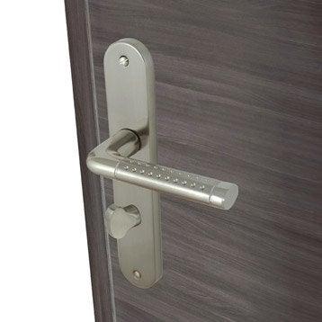 2 poignées de porte Tolbiac condamnation / décondamnation, aluminium mat, 195 mm