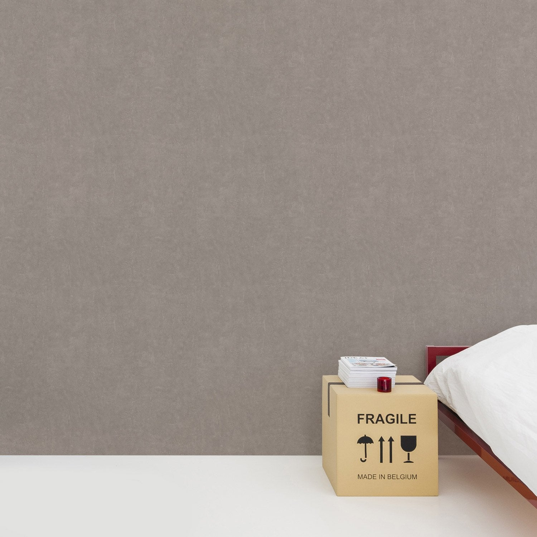 Papier peint vinyle Béton mat brun taupe
