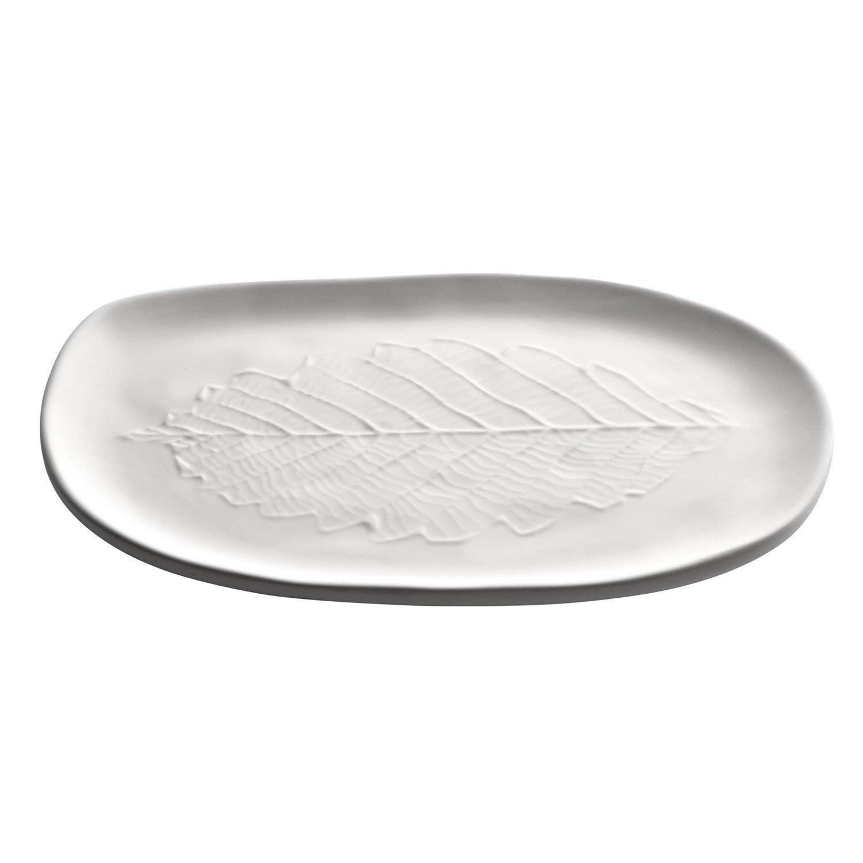 Plateau porcelaine Empreinte, blanc