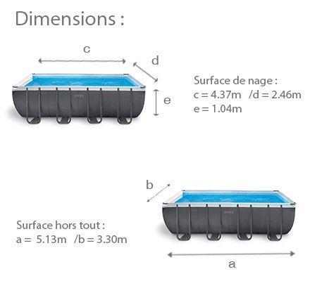 Piscine hors sol tubulaire ultra intex l x l 3 3 x h for Dimension piscine hors sol intex