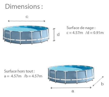 Piscine hors sol autoportante tubulaire prism frame intex for Dimension piscine hors sol