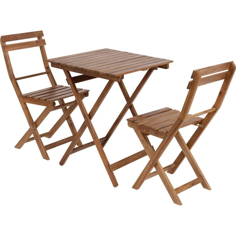 Salon de jardin Porto acacia marron, 2 personnes | Leroy Merlin
