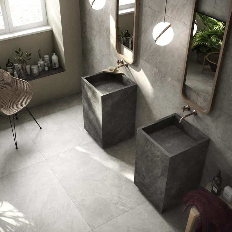 Carrelage sol et mur intenso effet pierre grège Icon l.60 x L.60 cm ARIANA