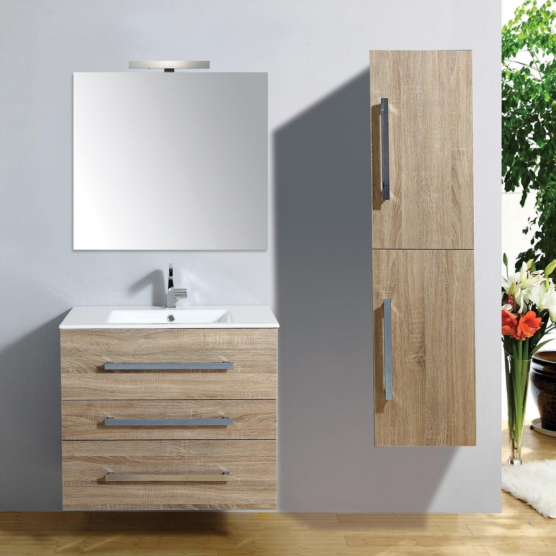 Meuble salle de bains 5 pièces, Senso l.80 x H.68 x P.50 cm, bois clair,  Senso