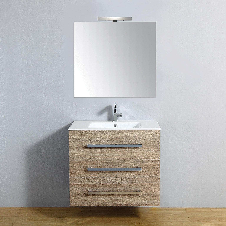 Meuble salle de bains 4 pièces, Senso l.80 x H.68 x P.50 cm, bois clair,  Senso