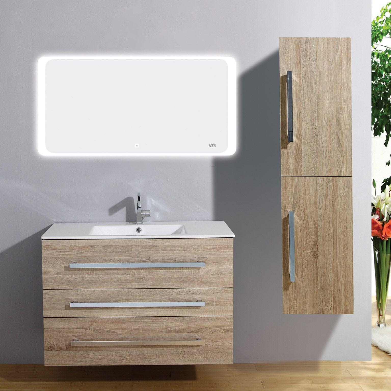Meuble Salle De Bain Largeur 100 meuble salle de bains 4 pièces, senso l.100 x h.68 x p.50 cm, bois clair,  senso