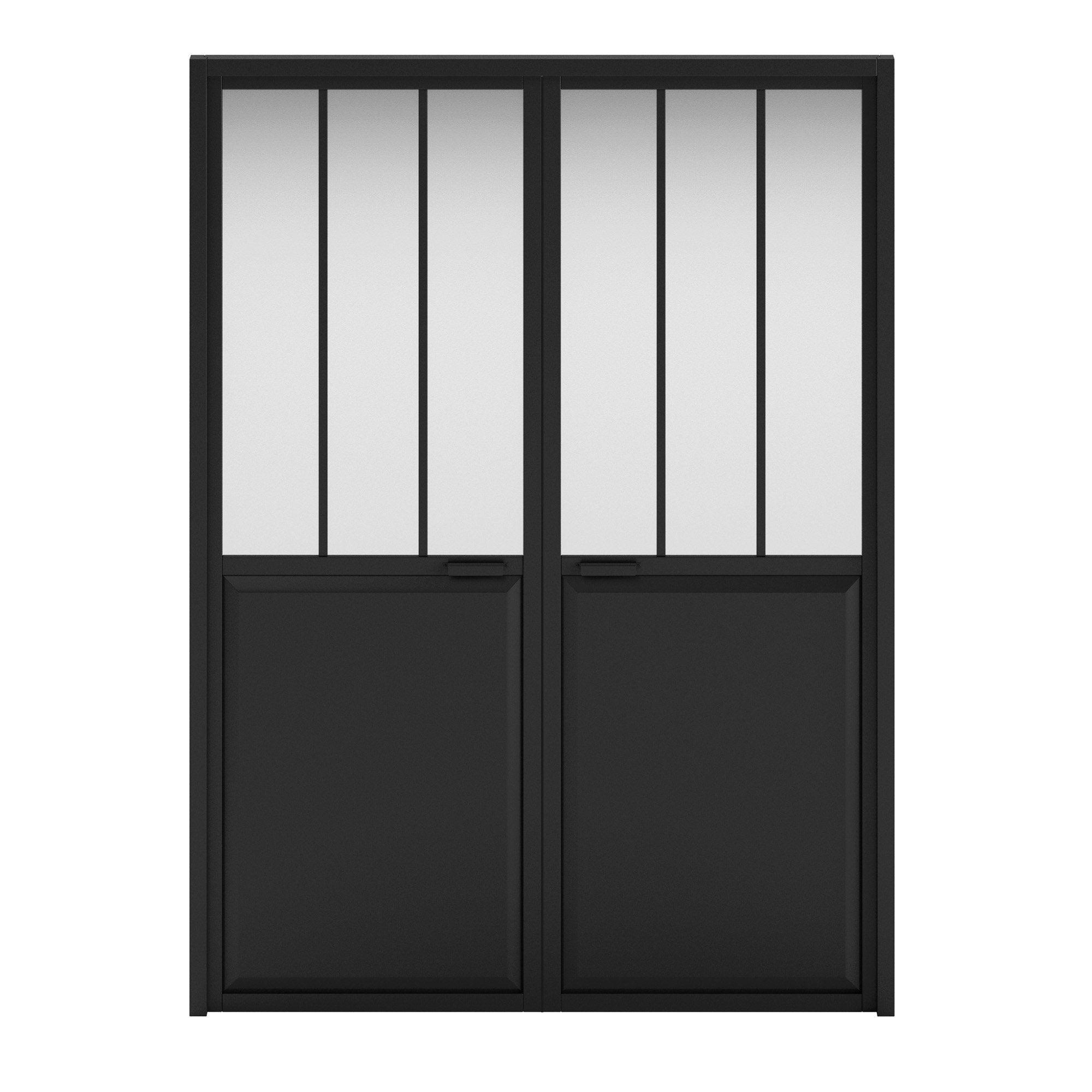 Double porte atelier vitré Atelier, noir H.204 x l.146 cm, poussant droit