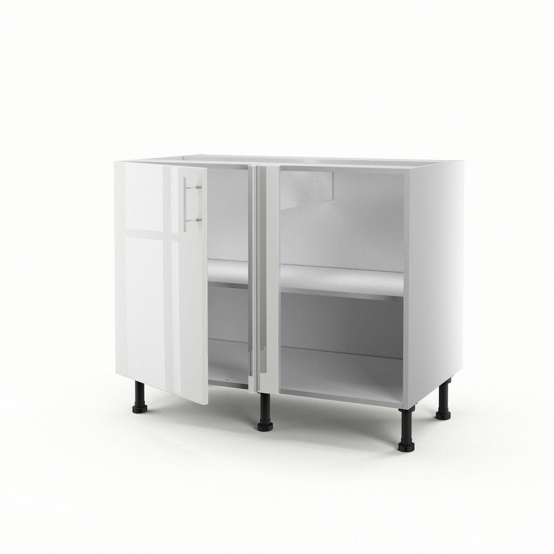 Meuble de cuisine bas d 39 angle blanc 1 porte rio x l for Bar cuisine angle