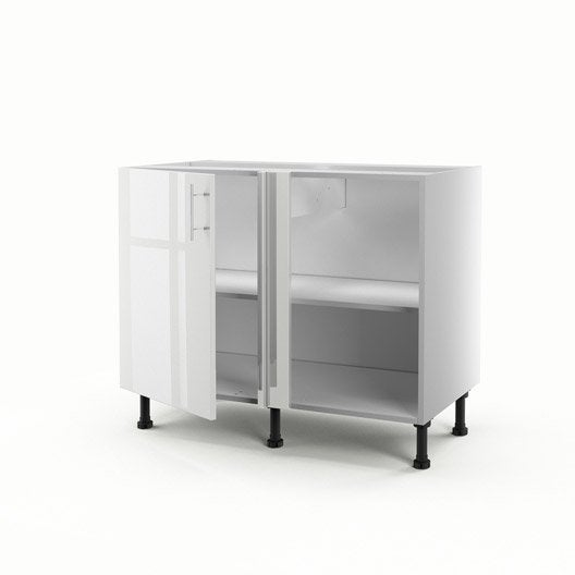 meuble de cuisine bas d 39 angle blanc 1 porte rio x x cm leroy merlin. Black Bedroom Furniture Sets. Home Design Ideas