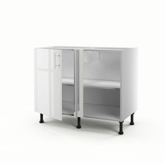 Meuble de cuisine bas d 39 angle blanc 1 porte rio for Meuble cuisine hauteur 100 cm