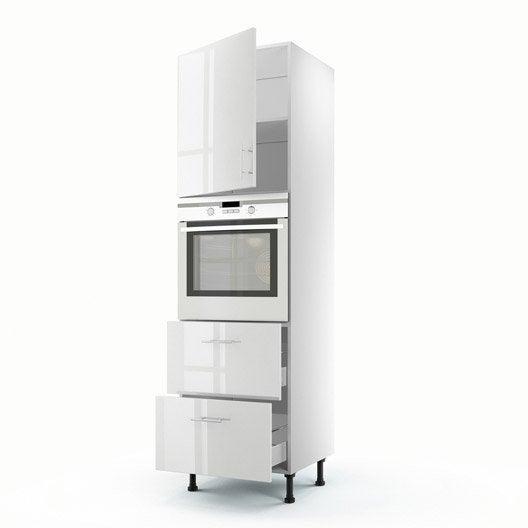 Meuble de cuisine colonne blanc 1 porte 2 tiroirs rio h for Cuisine financement 0
