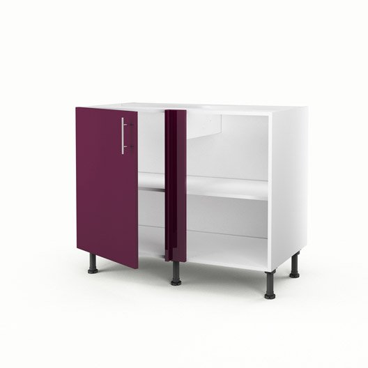 meuble de cuisine bas d 39 angle violet 1 porte rio x x cm leroy merlin. Black Bedroom Furniture Sets. Home Design Ideas